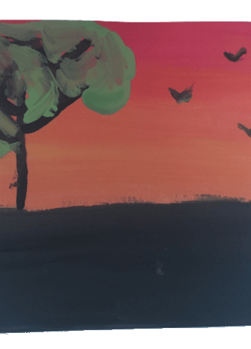 Painting of birds flying during sunset